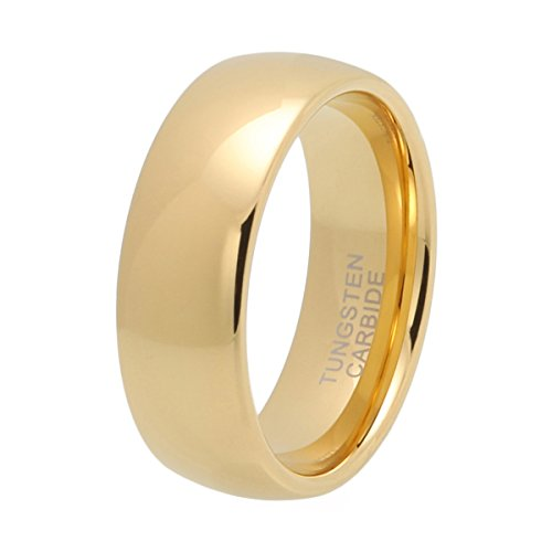 (iTungsten 6mm 8mm Gold Tungsten Carbide Rings for Men Women Wedding Bands Domed Comfort)