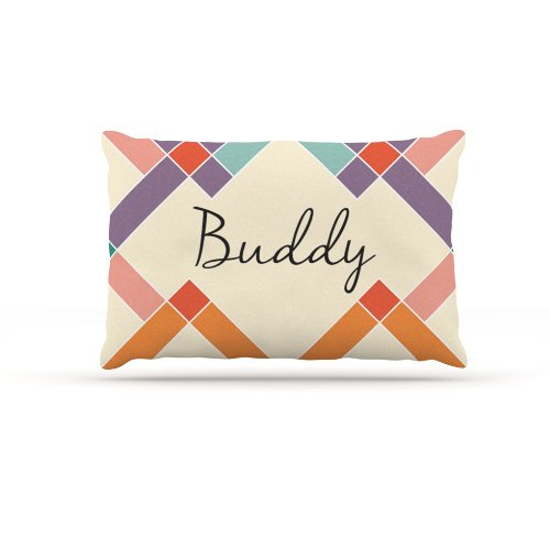Kess InHouse ''Buddy'' Colorful Geometry Name Fleece Dog Bed, 30 by 40-Inch, Rainbow/Tan by Kess InHouse