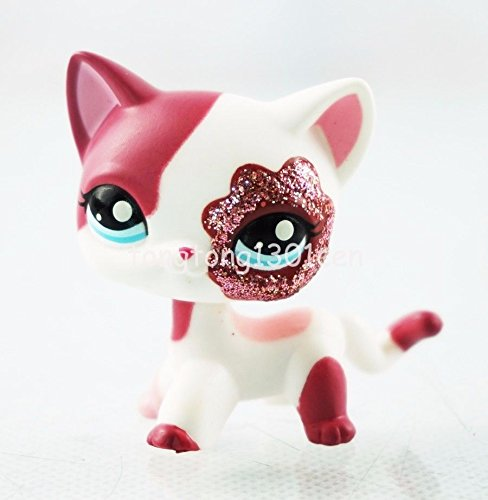 Littlest Pet Shop #2291 LPS White Cat Kitty Red Sparkle Glitter Blue Eyes Toys (Pepper Cat Tree)