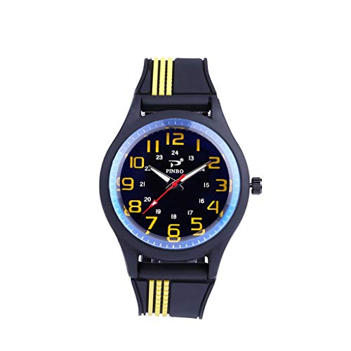 Aanny Military Watch Men's Leather Strap Analog Quartz Watch Casual Fashion Sports Watch Men's Chronograph ()