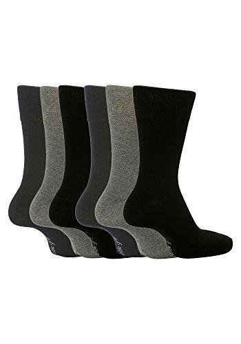 6 Pairs Sockshop Men's Gentle Grip cotton rich Socks 7-12 usa Plain Colours (Greys (Elastic Mens Socks)