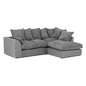 Abakus Direct ® JUMBO DYLAN LH/RH CORNER SEATER SOFA IN GREY CORD CHENILLE FABRIC + FREE FOOTSTOOL | 3-YEAR WARRANTY (RH…