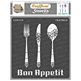 CrafTreat Kitchen Decor Stencils for Painting on Wood, Canvas, Paper, Fabric, Floor, Wall and Tile - Bon Appetit - 6x6 Inches - Reusable DIY Art and Craft Stencils - Kitchen Stencil (Color: Bon Appetit 6