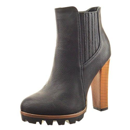 Sopily Damen Mode Schuhe Stiefeletten Chelsea Boots Plateauschuhe Fertig Steppnähte - Schwarz