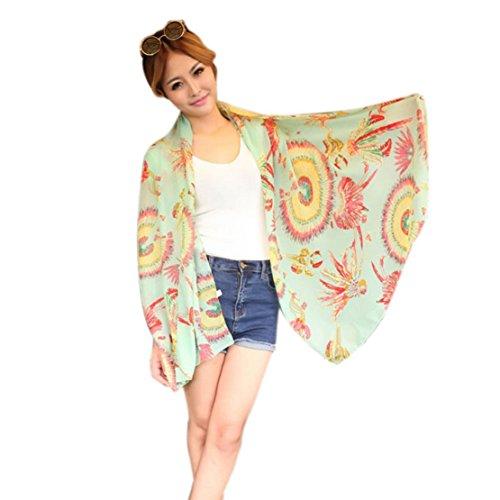 Towallmark(TM)Women Fashion Feathers Chiffon Wrap Lady Shawl Chiffon Scarf Scarves (Green)