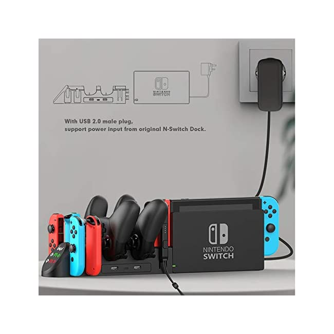 Charging Dock for Nintendo Switch  Charging Station for Nintendo Switch Joy Cons and Nintendo Switch Pro Controllers with LED Indicator