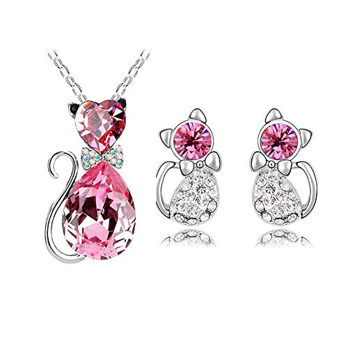 FAVOT 2019 New Crystal Necklace Earrings Set Cute Love Bow Kitten Style jewelry Set Girls Birthday Festival Gift (Dark Pink)