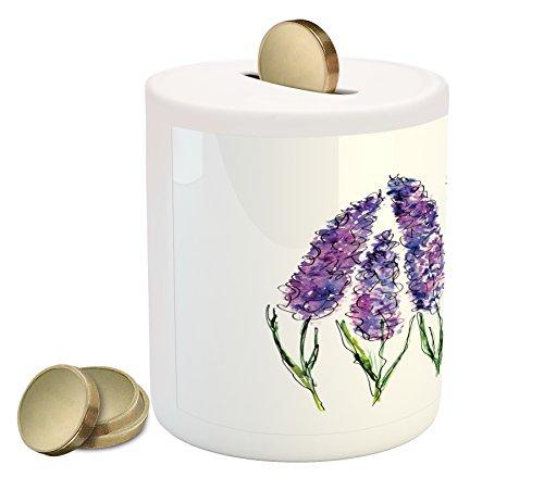 Lunarable Watercolor Flower Piggy Bank, Illustration of Lavender Flowers Fresh Colors Mint Family Plant, Printed Ceramic Coin Bank Money Box for Cash Saving, Violet Green White
