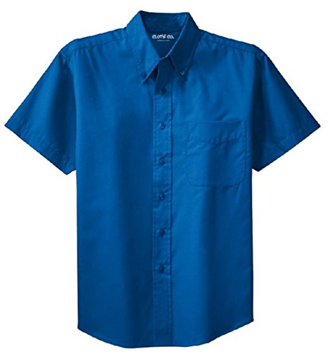 (Clothe Co. Mens Short Sleeve Wrinkle Resistant Easy Care Button Up Shirt, Strong Blue, XL)