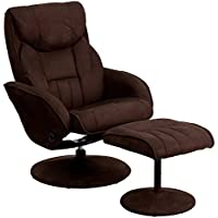 Flash Furniture Contemporary Brown Microfiber Recliner and Ottoman with Circular Microfiber Wrapped Base