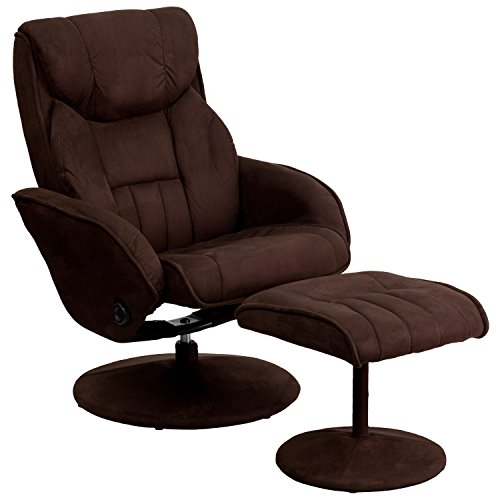 (Flash Furniture Contemporary Brown Microfiber Recliner and Ottoman with Circular Microfiber Wrapped Base)