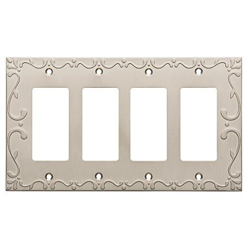 Decorator Solid Brass (Franklin Brass W35081-SN-C Classic Lace Quad Decorator Wall Plate/Switch Plate/Cover, Satin Nickel)