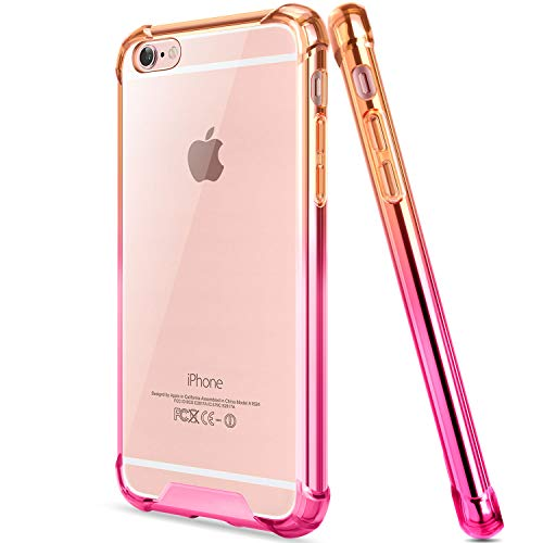 Salawat for iPhone 6 Plus Case, Clear iPhone 6s Plus Case Cute Anti Scratch Slim Phone Case Cover Reinforced TPU Bumper Shock Absorption Protective Case for iPhone 6/6s Plus 5.5inch (Orange Pink)
