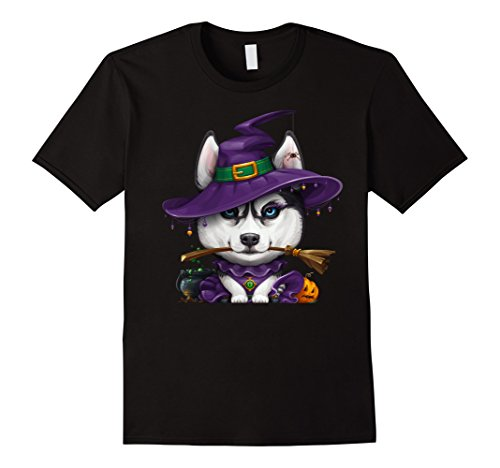 Siberian Husky Costume Ideas (Mens Siberian Husky Dressed as a Witch Halloween T-Shirt 3XL Black)