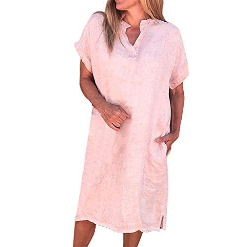 Sinfu Women Summer Casual Loose Split Mini Dress V-Neck Short Sleeve Solid Color Cotton Linen Dress with Pocket (L, Pink)
