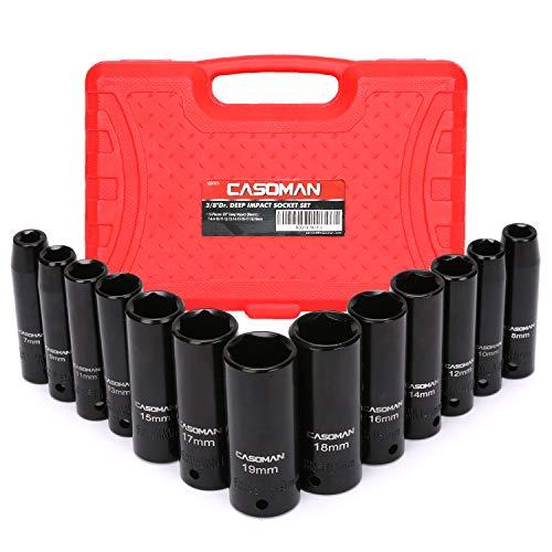 CASOMAN 3/8-Inch Drive Deep Impact Socket Set, Metric, Cr-V, 6-Point, 7mm - 19mm, 13 pcs Sockets Set