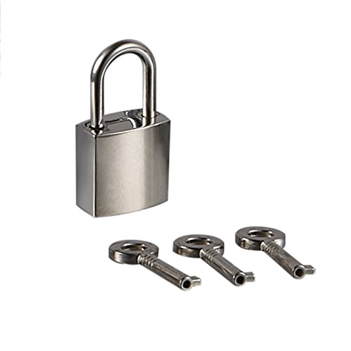 Mini Metal Lock - Zinc Replacement Unfading Silver Pad-Lock with 3 Keys of Hiplaygirl (Square)