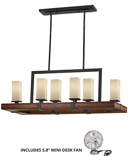 Feiss F2592/6AF/AGW, Madera Chandelier Lighting, 6LT, 360watt, Forged Iron (Includes Mini Desk Fan) (Table Iron Forged Chandelier Antique)