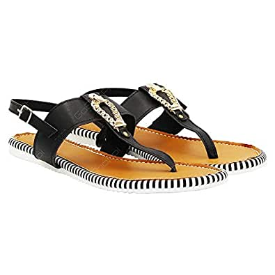 LEMEX Black Flat Sandal For Women