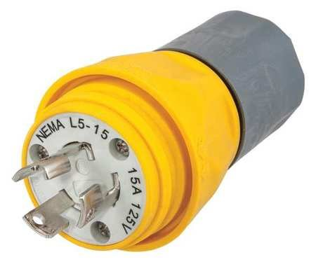 15p 2p 3w Plug (15A Watertight Locking Plug 2P 3W 125VAC L5-15P YL)