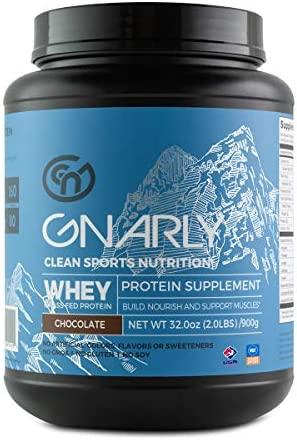 Gnarly Nutrition, Whey Protein Derived from Non-rBGH New Zealand Grass-Fed Cows for Muscle Synthesis, Chocolate, 32 Oz 20 Servings