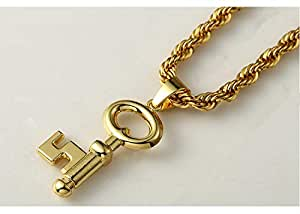 Europe Style 18 k gold key fine necklace Hip hop pendant necklace