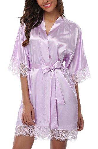 Giova Women's Lace Trim Kimono Robe Nightwear Nightgown Sleepwear Satin Short Robe Lavendar Medium ()