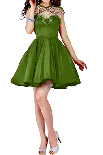 Charm Bridal 2016 Short Satin Beaded Junior Summer Homecoming Cocktail Dresses -26W-Light green by Charm Bridal