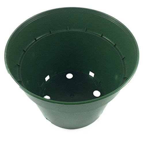 10 Plant Pots - 7.5 Inch Diameter - 100% Recycled Plastic - Made in USA - Strong, Reusable - By Panda Pots (Dark Green)