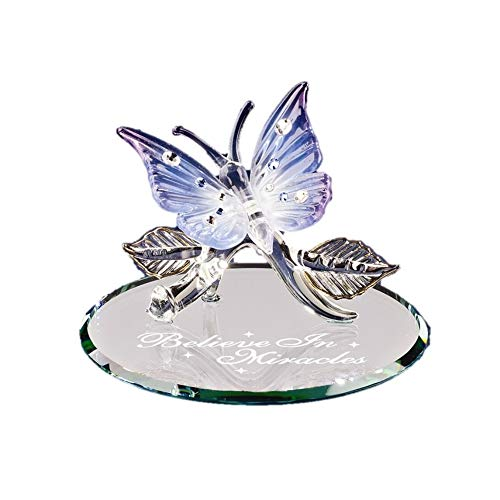 (Butterfly Believe in Miracles Glass Figurine)