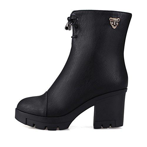 AgooLar Womens PU Low Top Solid Zipper High-Heels Boots Black 6H9y2kGOP