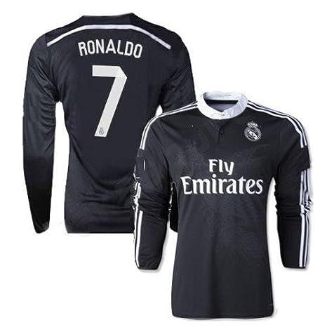 san francisco 7892c c8cd8 Amazon.com : Real Madrid Youth Ronaldo #7 Away Black Dragon ...