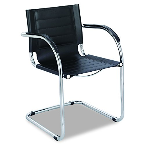 Safco Products Flaunt Leather Guest Chair , Black, Sturdy Steel Frame, Stitched Leather Back and Seat, Chrome Accents