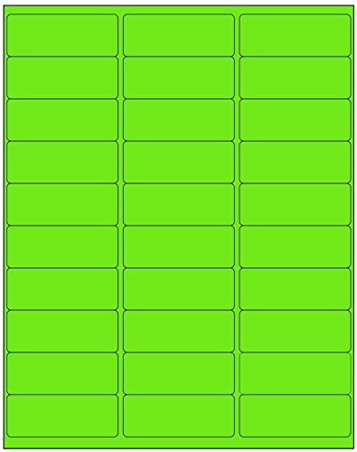 (Address Labels Fluorescent Neon Green 600 Labels, 20 Sheets, Good for Organizing, Inkjet and Laser Printer Compatible)