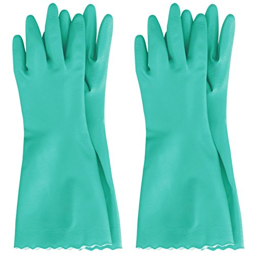 MJ 2 Pairs Household CNG PVC Soft Durable Cleaning Wash Gloves Green XL -