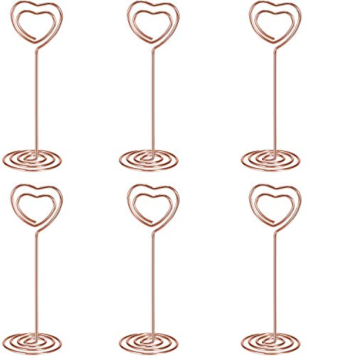 Shappy 24 Pack of Table Number Card Holders Photo Holder Stand Place Card Paper Menu Clips Holders, Heart Shape (Rose Gold) -