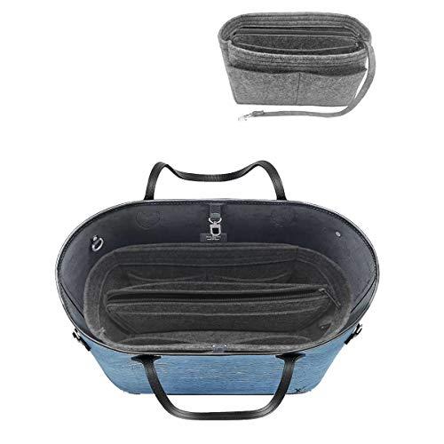 (LEXSION Felt Purse Insert Handbag Organizer Bag in Bag Organizer with Handles Holder 8021 Grey L)