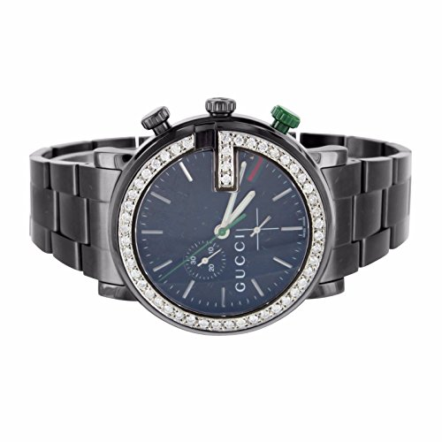 Mens I Gucci YA101331 Watch Black PVD Mens 47MM Chronograph 3.5 Carat