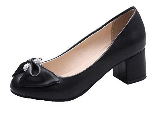 VogueZone009 Damen Ziehen auf Mittler Absatz Rund Zehe Rein PU Pumps Schuhe Schwarz
