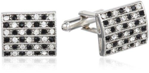 Stacy Adams Men's Silver Cuff Link W/Black & Clear Crystals, One Size (Clear Crystal Cufflinks)