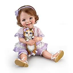 Jane Bradbury Poseable Child Doll With Sculpted Kitty In Hands - By The Ashton-Drake Galleries