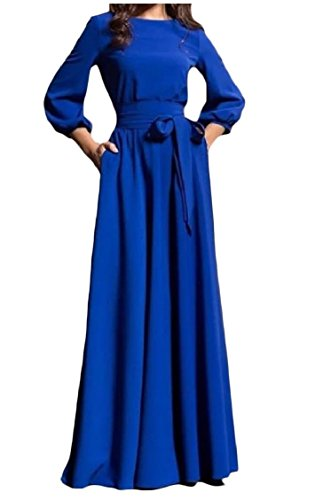 Sequined Salwar Kameez - Fieer Womens A Line Robe Bishop Sleeve Lace-up Party High Waisted Solid Long Dresses Blue XSmall