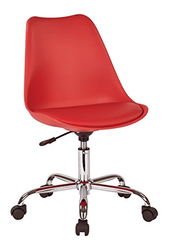 AVE SIX Emerson Polyurethane Seat Armless Task Chair with Chrome Base with Casters, Red