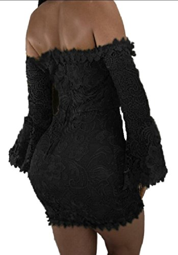 Sexy Floral Party Shoulder Bodycon Black Lace Flare Dress Off Women Club Jaycargogo Sleeve Mini Dress qUwnF1t1