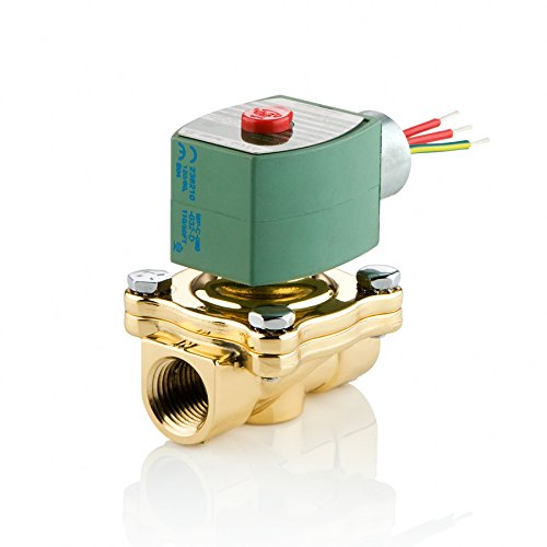 ASCO 8210G035-120/60,110/50 Brass Body Pilot Operated General Service Solenoid Valve, 3/4'' Pipe Size, 2-Way Normally Open, Nitrile Butylene Sealing, 3/4'' Orifice, 5.5 Cv Flow, 120V/60 Hz, 110V/50 Hz by Asco