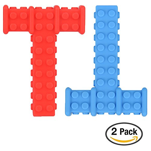 Big Sensory Chewy Brick for Kids, Boys and Girls - Designed for Teething, Autism, Biting, Chewing – 2-Pack (Red and Blue) – Knobby Chew Stick – Super Chewie Stim Toys by Lull Kids
