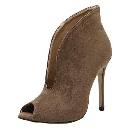 Mashiaoyi Women's Peep-Toe Stiletto Slip-on Suede Ankle Boots Brown