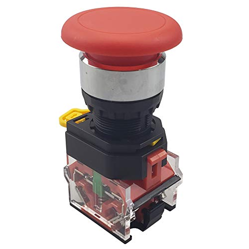 APIELE [ 3 Year Warranty] 22mm Momentary Mushroom Head Push Button Switch 1NO1NC 7/8'' Mouting Size (Red)
