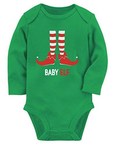Tstars Baby Elf Cute Santa's Lil' Elf Holiday Baby Long Sleeve Bodysuit 18M (12-18M) Green