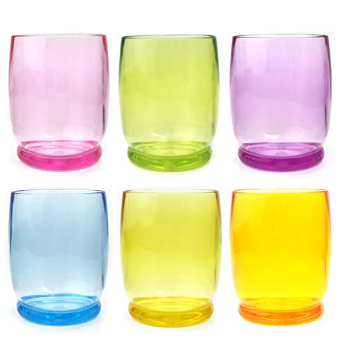 Acrylic Glasses/Drinking Glasses/Wine glasses-Stackable Premium Quality 14 Ounce Plastic Glasses, Set of 6 in 6 Assorted Colors|Shatterproof,Dishwasher Safe,BPA Free